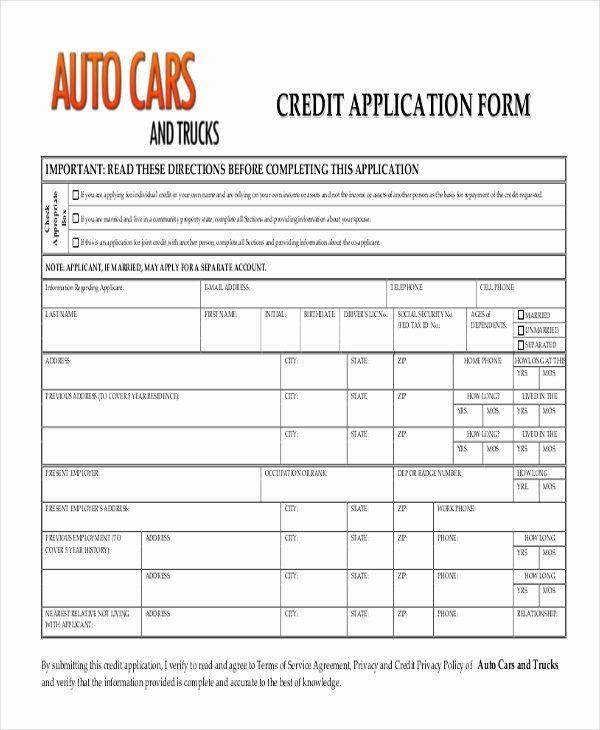 Car Loan Application Form Template Unique Free 10 Sample Credit Application Forms In 2020 Application Form Loan Application Templates