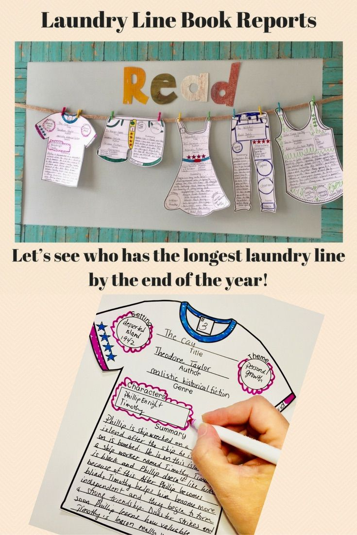 Your students will want to read as many books as they can to compete for the longest laundry line! This fun book review/book report display will motivate them to read more! 7 templates included.