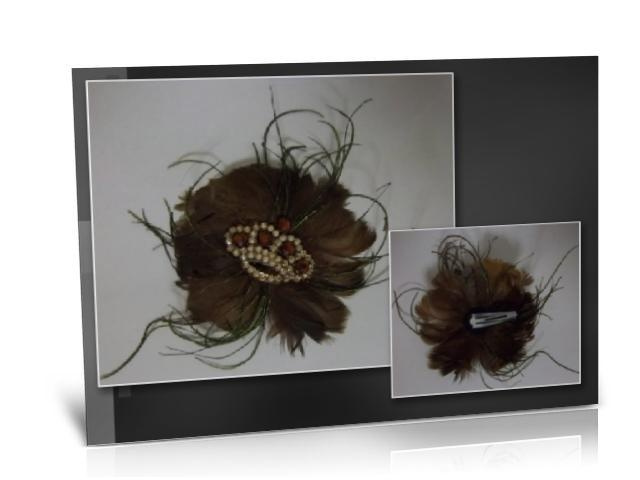 Handmade Chocolate Brown Fascinator Hair Clip with Rhinestone Crown Size: 12cm  If you wish to purchase any of my items for sale please go to my facebook webpage  https://www.facebook.com/pages/EXclusive-You/395447263845548