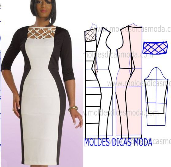 Analise de forma correta o desenho da transformação do molde de vestido branco e preto para poder fazer a leitura de forma correta. Este passo é importante para entender o processo da transformação do