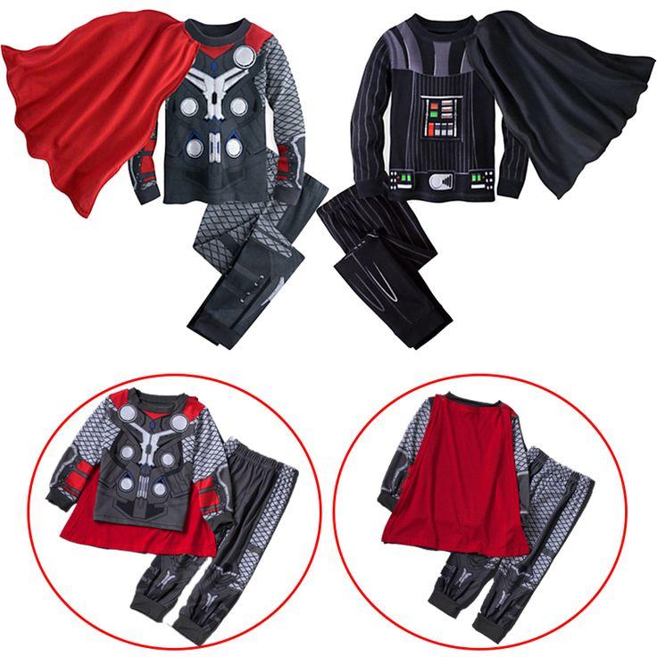 2016 Удивительные Мальчики Звездные Войны и Мстители детский Одежда Наборы домашней одежды Человек-Паук Капитан Америка Ironman Халк Thor Одежда