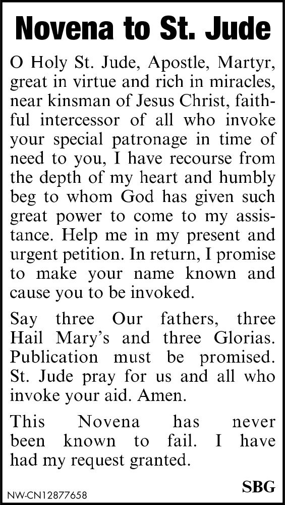 Novena to St. Jude Local Ad