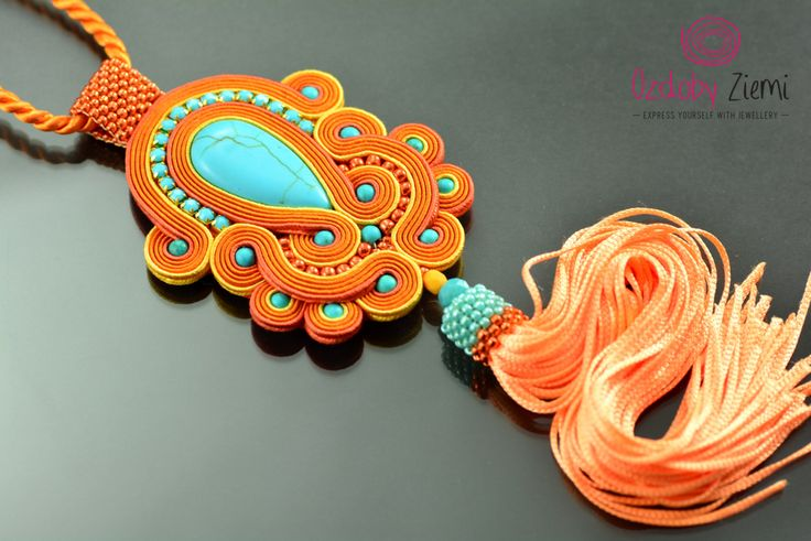 Turquoise Orange Tassel Necklace, Orange Soutache Necklace with Tassel, Long Turquoise Necklece, Boho Necklace, Extra Long Tassel Necklace -----MADE TO ORDER-------- ***** FAST SHIPPING - order is delivered to you by COURIER SHIPMENT ***** (phone number required)! I created this
