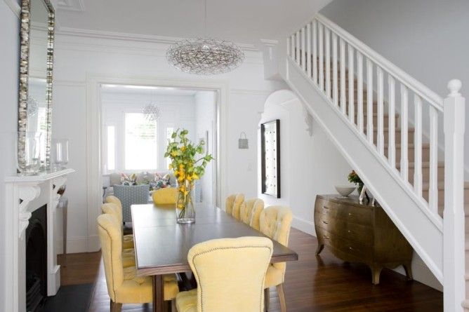 T01 Architecture - Projects - Paddington buttercup yellow upholstered dining room table chairs traditional terrace stairs balustrade