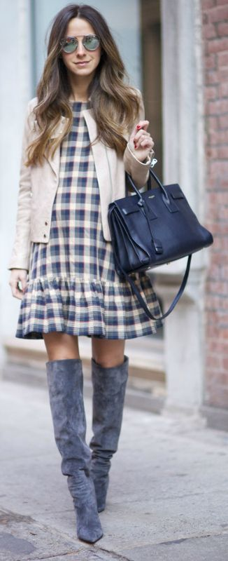 Plaid is a classic trend! Arielle Nachami wears a cute plaid midi dress with over the knee boots and a casual tan jacket. Wear the look with tights if you have to brave the cold! Via Just The Design.   Dress: The Great, Boots: Gianvito Rossi, Jacket: J Brand, Bag; Saint Laurent.