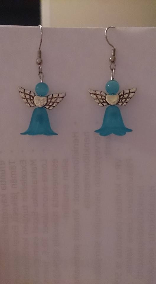 Blue flower dress Angel earrings