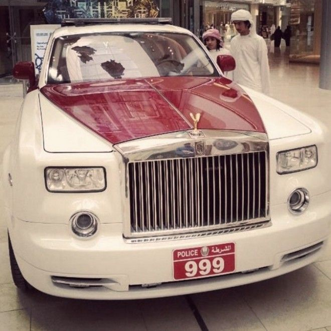 Abu Dhabi police unveiled their latest acquisition cop car, a Rolls Royce Phantom tricked out in purple and white, the colors of the state police force. It's