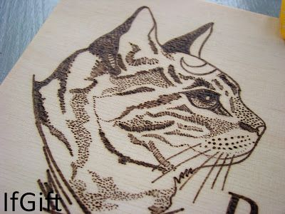 where is a cat? on wood burned