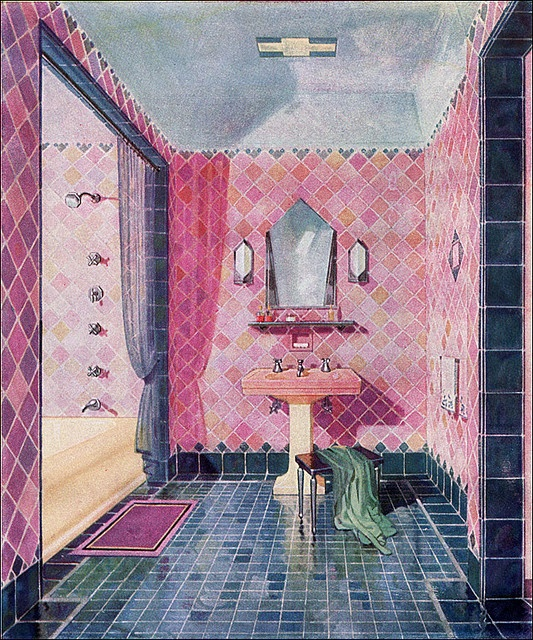 1929 Bathroom Design — Art Deco    This is a beautiful illustrated image from a 1929 Kohler ad for an Art Deco style bathroom. Great colors and something that would be reproducible today.