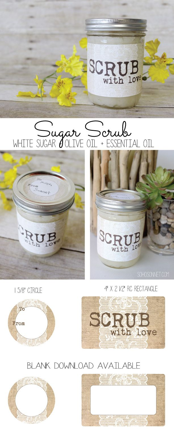 DIY Sugar Scrub with Free Printable Jar labels. Burlap and Lace labels with Sugar and Oil Scrub recipe - SohoSonnet Creative Living