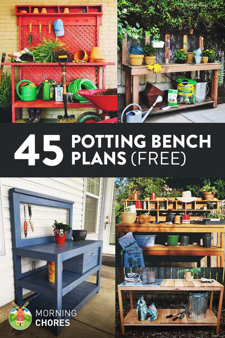 "45 Free DIY Potting Bench Plans that will inspire you to work on that ""green thumb"""