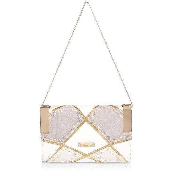 River Island White patchwork clutch (£25) ❤ liked on Polyvore featuring bags, handbags, clutches, white handbags, strap purse, chain handle handbags, white clutches and river island