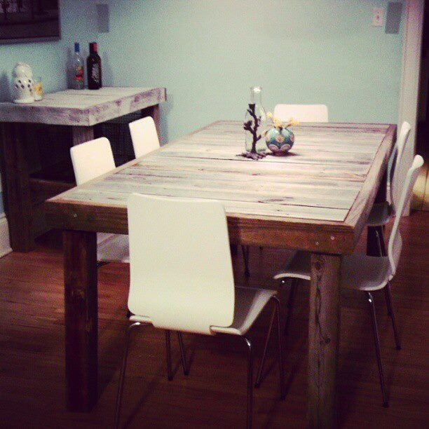 Kammy 39 s korner upcycled fence into rustic table kammy 39 s for Upcycled dining table