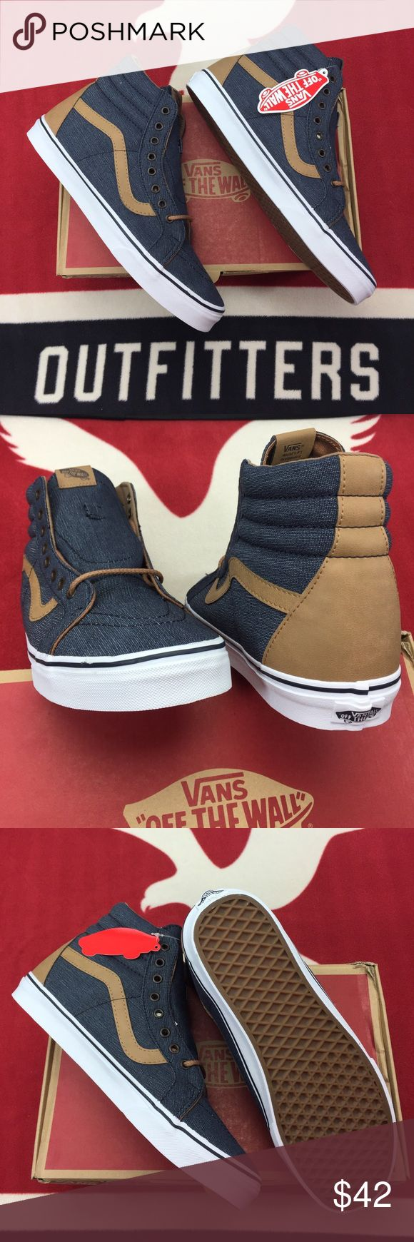 Vans Sk8-Hi Reissue Navy Denims' Vans Sk8-Hi, the legendary lace-up high top, features sturdy uppers, re-enforced toecaps to withstand repeated wear, padded collars for support and flexibility, and signature rubber waffle outsoles. Vans Shoes Sneakers