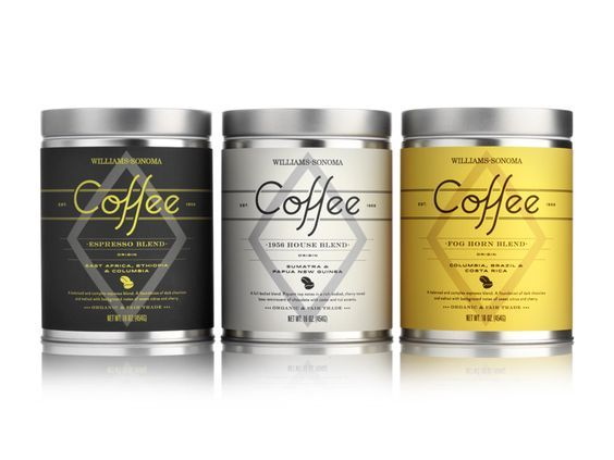 Williams-Sonoma Coffee Tins by Pavement   Coffee tins created for Williams-Sonoma's exclusive coffee collection.  The titling was inspired by script found on vintage Italian coffee packaging.: