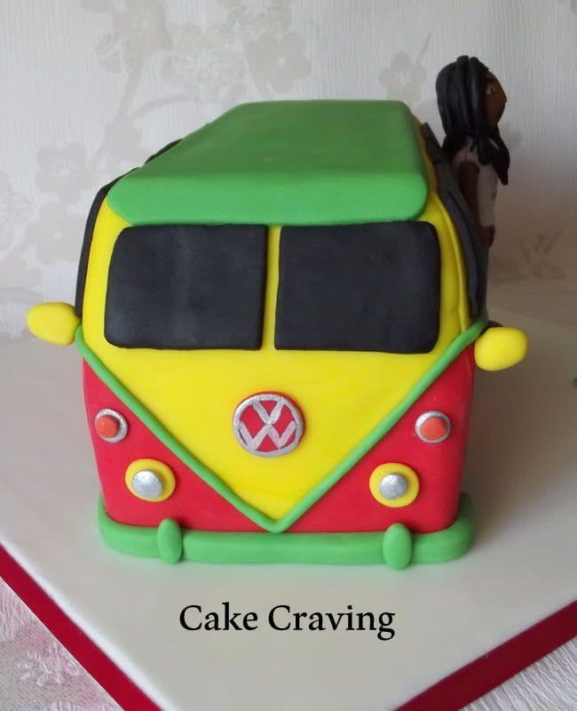 Reggae camper van cake and Bob Marley Icing figure - cake by Hayley