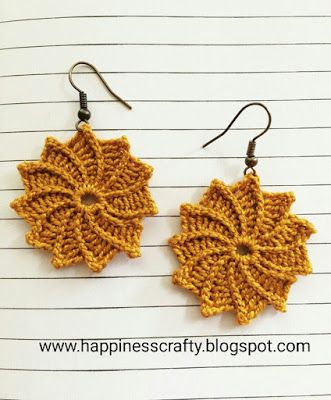 What you will need: 1,25 mm hook cotton thread (n.8) 2 earrings hooks     Pattern Ch.5, join with sl.st. Make a ring. Rnd 1: ch 7, sl.st in 2nd chain from hook and each of the next sts. Sl.st into ce