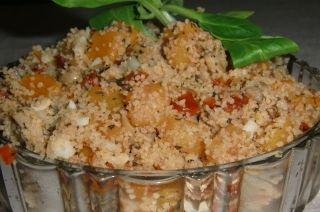 Couscous à la courge Butternut, aux tomates séchées et au fromage Oka