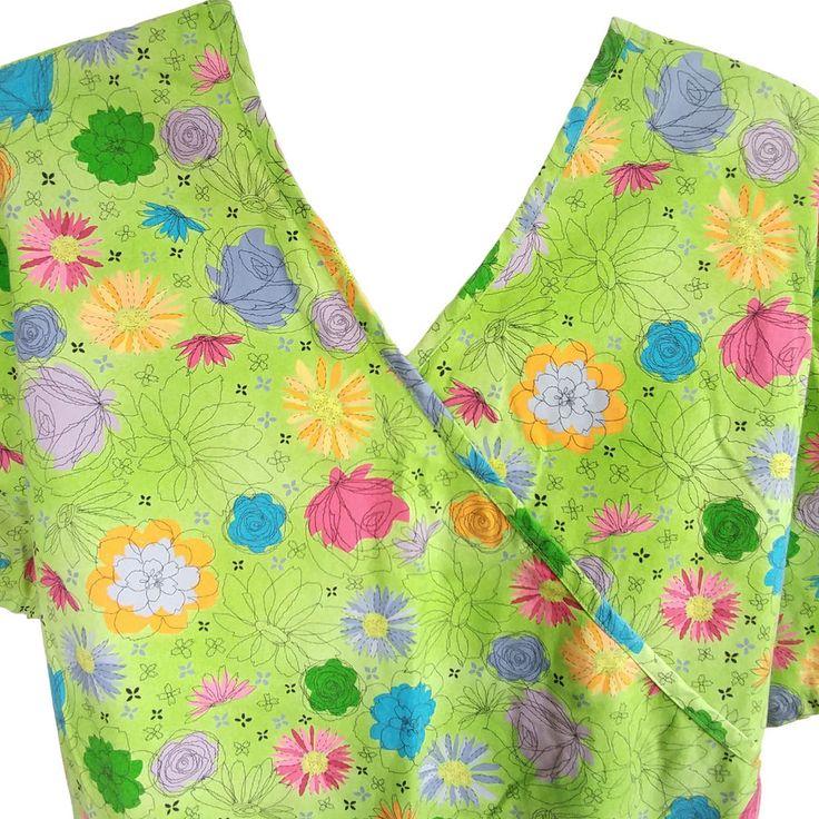 SB Scrubs Womens Scrub Top Green Floral Print Tie Back Sz L #SBScrubs