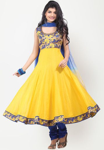 Sleeve Less Embroidered Yellow Suit Set Online Shopping - Sareez   SA306WA55TSUINDFAS