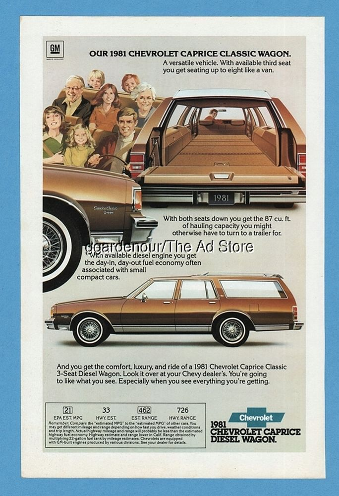 1981 Chevy Caprice Classic Diesel Station Wagon Chevrolet brown 1980 print ad