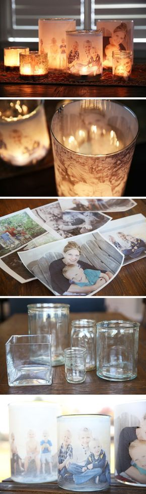 DIY Glowing Photo Luminaries. Using a blank sheet of vellum, a photo printer, double-sided tape, a hurricane glass and tea lights, you can light up your favorite family photo in your room.