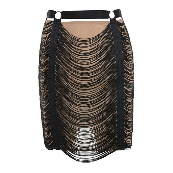 'Tonino' Black and Nude Tassel Skirt ❤ liked on Polyvore featuring skirts, mini skirts, short skirts, short fringe skirt, tassel skirt, fringe skirt and draped skirts