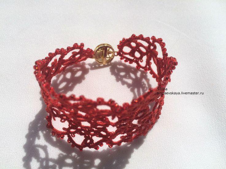 Купить Кружевной браслет фриволите - Браслет ручной работы, браслет с бисером, кружево ручной работы