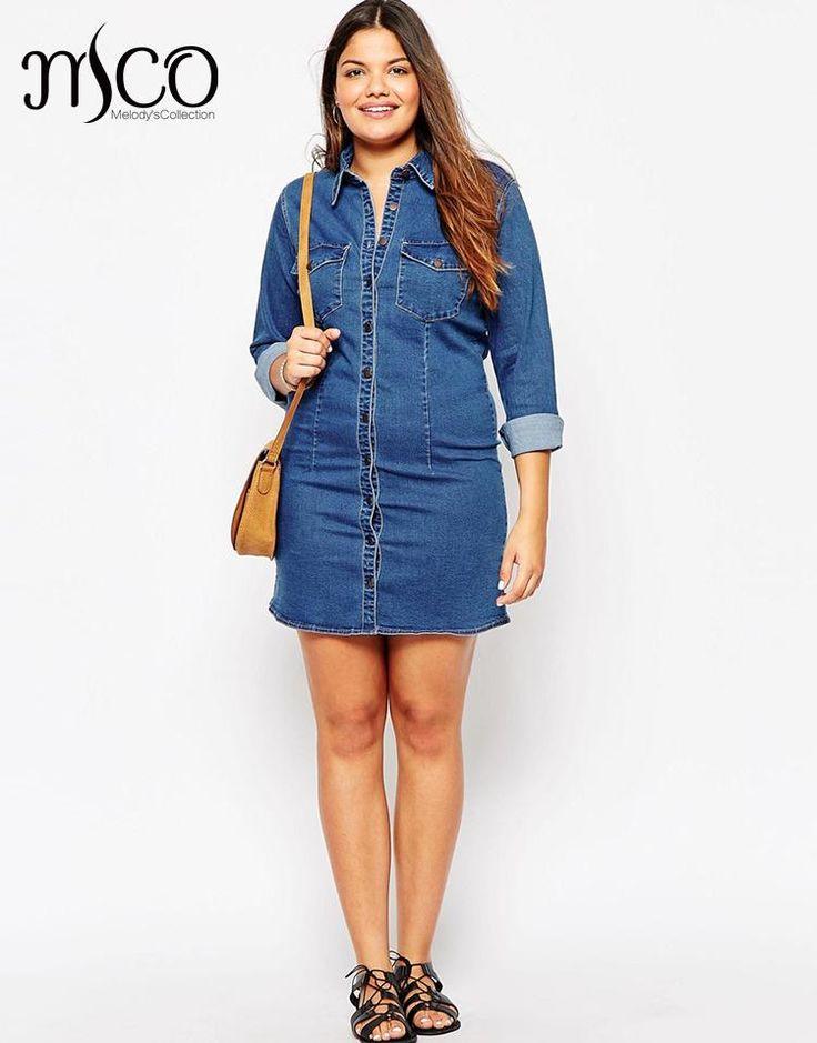 Brand European 2016 Denim Shirt Dress Casual Winter Street Jacket Style Women Jeans Dresses High Quality Plus Size 5xl 6xl 7xl