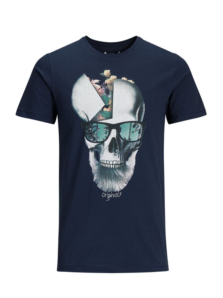 Cause there's no such thing as having too many cool t-shirts. Slim fit dark blue t-shirt with skull print, 100% cotton | JACK & JONES