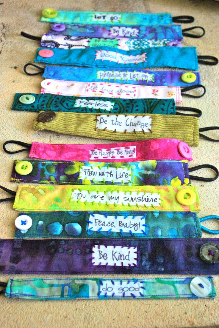 Sewing crafts for teens - Custom Made To Order Fabric Bracelet With Text