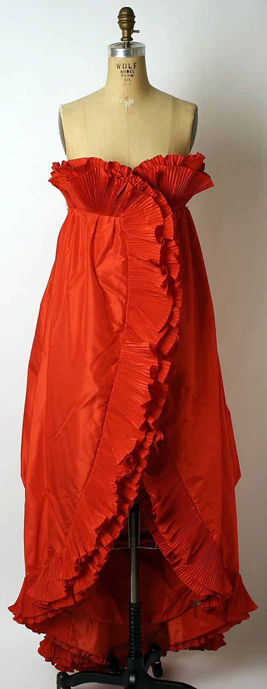 """Evening Ensemble, Christian Lacroix (French, born 1951) for the House of Patou (French, founded 1919): 1986, French, silk, plastic. Marking: [label] """"Jean Patou/Paris"""""""