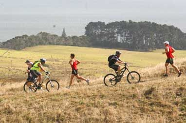 Partners Life DUAL Motuatapu - Rangitoto Traverse, 22nd March 2014. Event options 42.2km Trail Marathon, 21km Trail 1/2 Marathon, 10km Run/Walk, 6km Run/Walk, 45km Mountain Bike, 30km Mountain Bike, Off-Road Triathlon. Enter online at www.thedual.co.nz