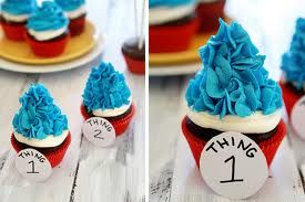 Thing 1 Thing 2 baby shower cupcakes     Dr. Seuss Party Ideas for Baby Shower and Birthday | Frosted Events Birthday Party Themes, Baby Shower Themes, Bridal Shower Themes