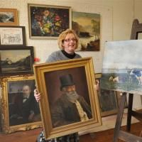 Ludmila Sakowski, of Art Care and Conservation Dunedin, is calling on the owners of restored art works to reclaim them before her studio closes next month. Photo by Peter McIntosh.