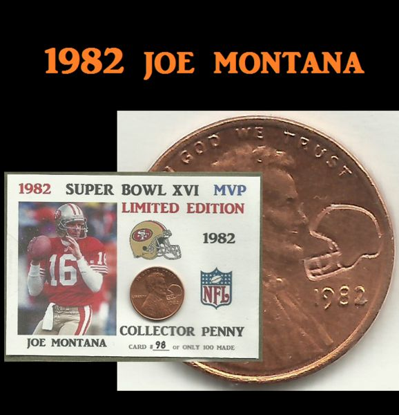 1982 Lincoln Cent Super Bowl XVI MVP Joe Montana ACEO Counter Stamped Coin Trading Card O-5790