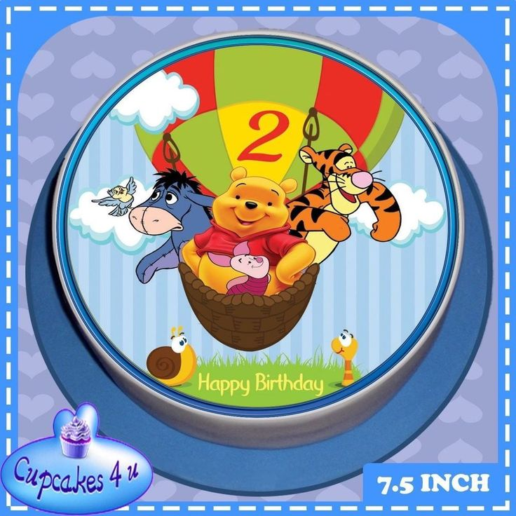 HAPPY BIRTHDAY 7.5 INCH ROUND POOH & FRIENDS 2ND BIRTHDAY CAKE TOPPER - CC0151