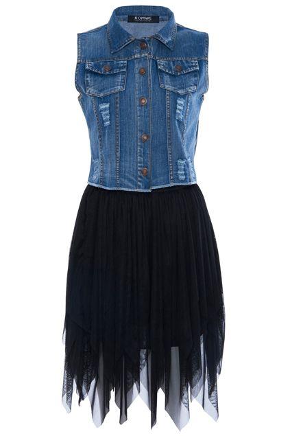 ROMWE | Chiffon Panel Pocketed Distressed Elastic Black Dress, The Latest Street Fashion #RomwePartyDress