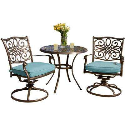 traditions 3 piece outdoor bistro set with round cast top table and rh pinterest com