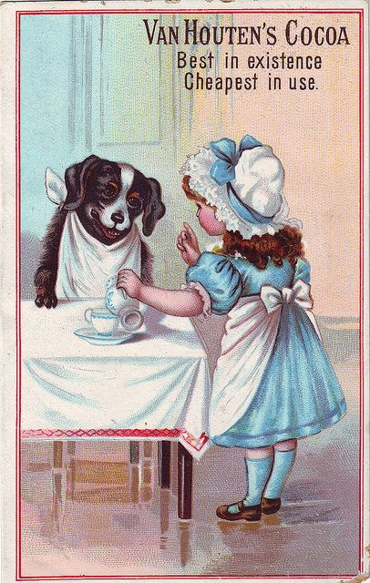 CHROMO COCOA VAN HOUTEN - GIRL POURING COCOA WITH DOG SITTING WITH NAPKIN AT TABLE , soyouthinkyoucansee