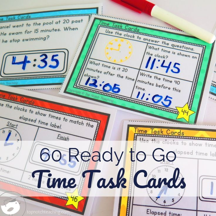 Telling Time Task Cards With Images Telling Time Task Cards