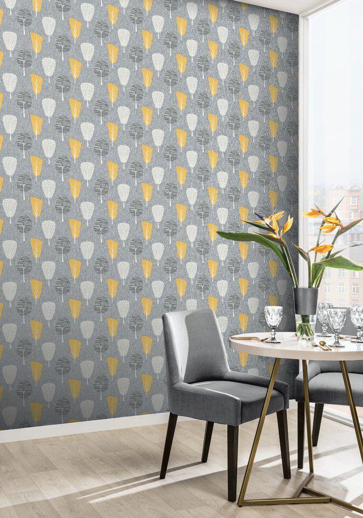 Arthouse Retro Tree Leaf Grey Mustard Yellow Ochre Quality Wallpaper 902309 NEW