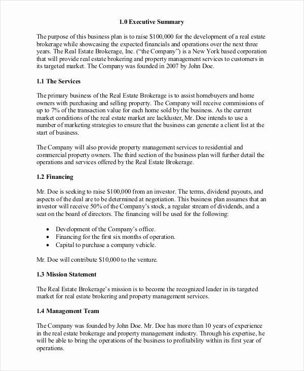 30 Realtor Business Plan Template In 2020 Business Plan