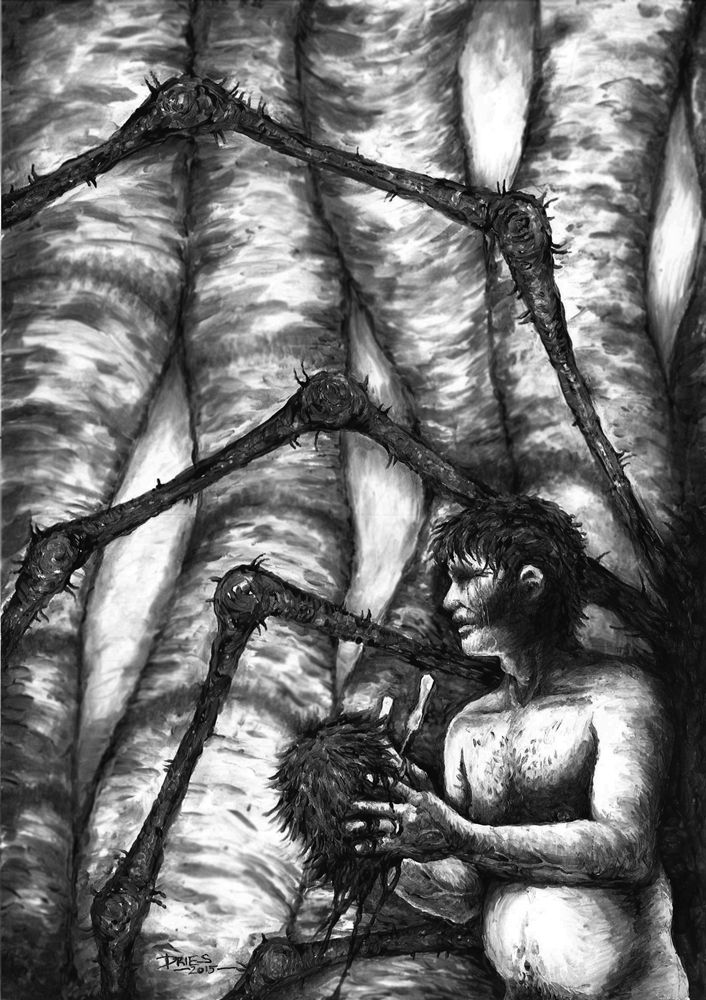 """Aaron Dries' artwork for his """"Love Amongst the Redback Spiders."""""""