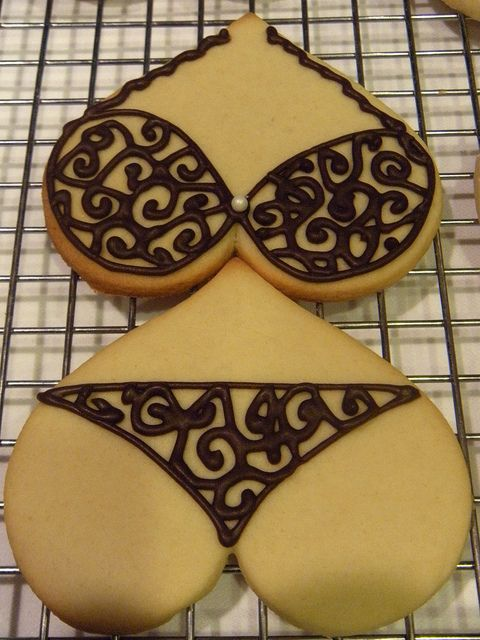 bachelorette party cookies, except I wouldn't put them together because the bottom cookie should be a butt & that person would be severely deformed