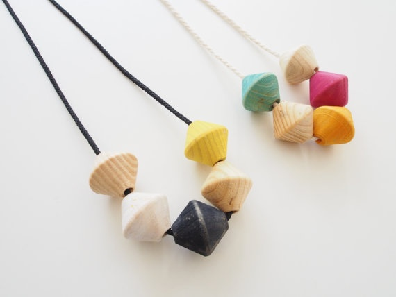 Hand painted timber bead necklace by objectsbybrooke on Etsy, $40.00