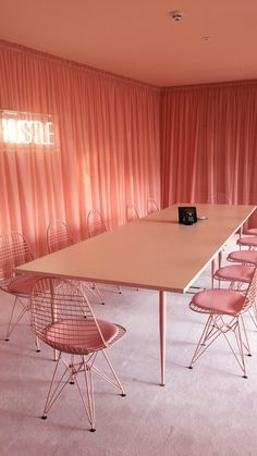 How Simple Is This Meeting Room Table?! I Love The Chic Pink Colour  Throughout