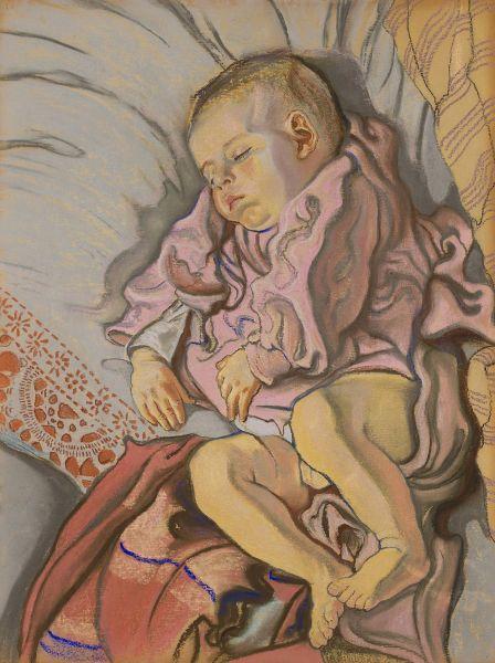 Śpiące dziecko na poduszce - Stanisław Wyspiański