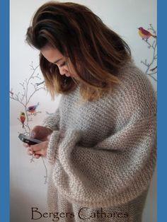 OverSize pull mohair - Très facile à tricoter (spécial débutante) avec du kid Mohair/Soie des Bergers Cathares - Pattern + kid mohair = kit à tricoter