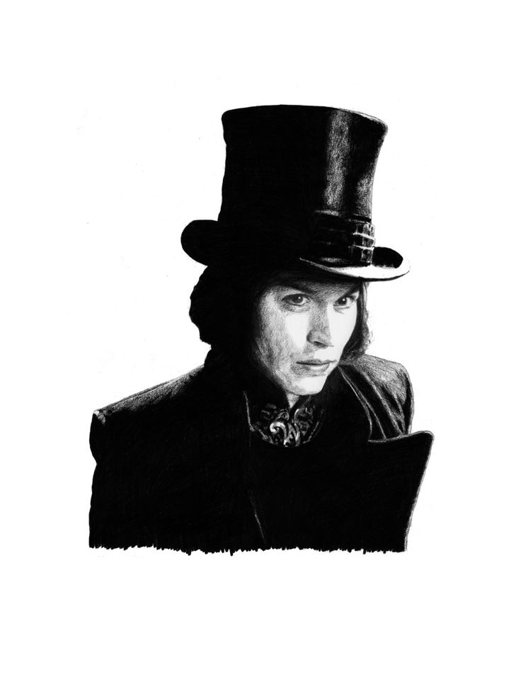 ORIGINAL WILLY WONKA Johnny Depp Charlie and the Chocolate Factory pencil drawing by Cultscenes on Etsy